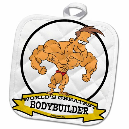 3dRose Funny Worlds Greatest Bodybuilder Men Cartoon - Pot Holder, 8 by 8-inch](Funny Bodybuilder)