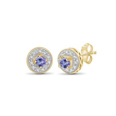 1/5 Carat T.G.W. Tanzanite and White Diamond Accent 14kt Gold Over Silver Stud Earrings