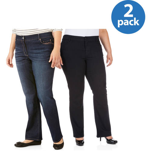 Faded Glory Women's Plus-Size Slim Bootcut Jean 2 Pack Value Bundle