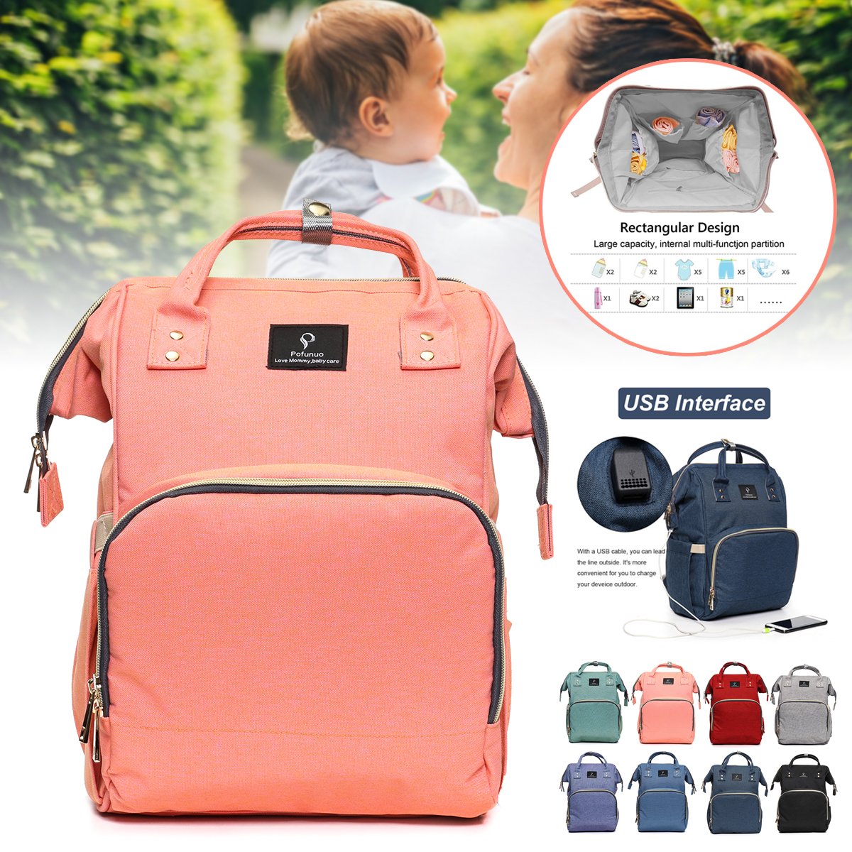 Backpack Diaper Bag with Smart USB Interface Charging Bagpack Large Baby Diaper Nappy Multifunctional Waterproof
