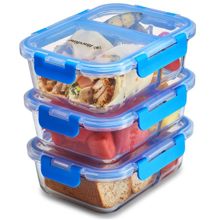 ShopoKus Glass Meal Prep Containers 3-Compartment - 3-Pack 32 Oz. Freezer to Oven Safe Airtight Food Storage Container Set with Hinged Locking Lids, Great On the Go Portion Control Lunch Containers