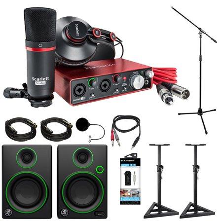 Focusrite Scarlett 2i2 Studio USB Audio Interface & Recording Bundle (2nd Gen) + Mackie CR Series CR3 Multimedia Monitors (Pair) + 2x Deco Mount PA Speaker Stand + More