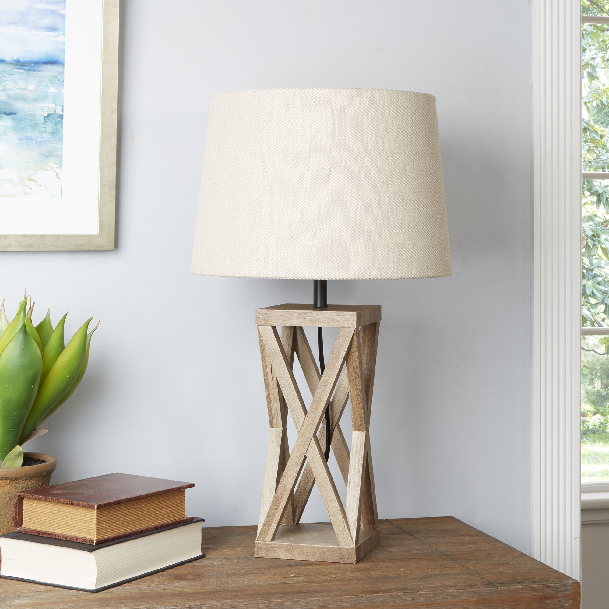 Better Homes & Gardens X Frame Lamp Base, Weathered Finish
