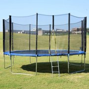 8ft Trampoline with Enclosure,800 LBS Weight Capacity for 5-6 Kids, Spring Cover Padding and Ladder,Outdoor Fitness Trampoline for Kids, Adults