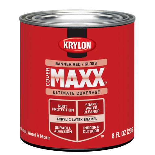 Krylon Cover Maxx Paint, Gloss Banner Red, 1/2 Pt