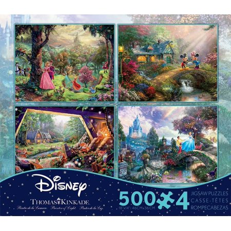 Thomas Kinkade Disney Dreams Collection 4 in 1 500 Piece Puzzle - Volume 3 Jigsaw Puzzle 12 x (Black Wellnessmats Puzzle Piece)