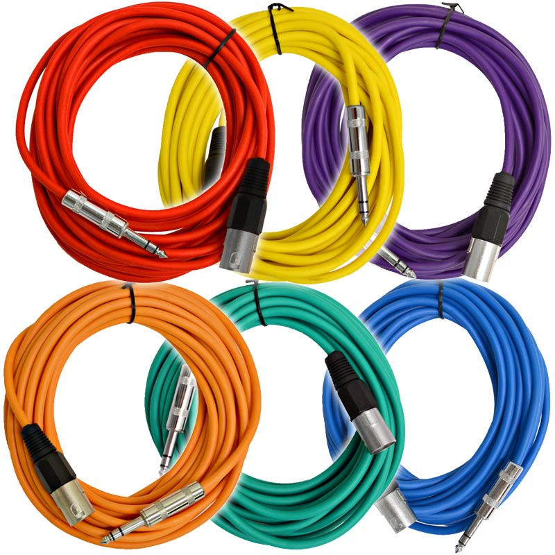 """Seismic Audio 6 Pack of Multiple Colors 25 Ft XLR Male to 1/4"""" TRS Patch Cable Snake Cords NEW Multi-Colors - SATRXL-M25BGORYP"""