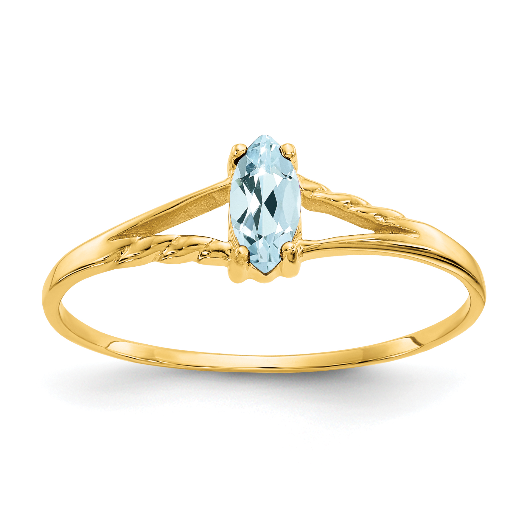 14k Yellow Gold Blue Aquamarine Birthstone Band Ring Size 7.00 March Marquise Fine Jewelry Gifts For Women For Her - image 2 de 2