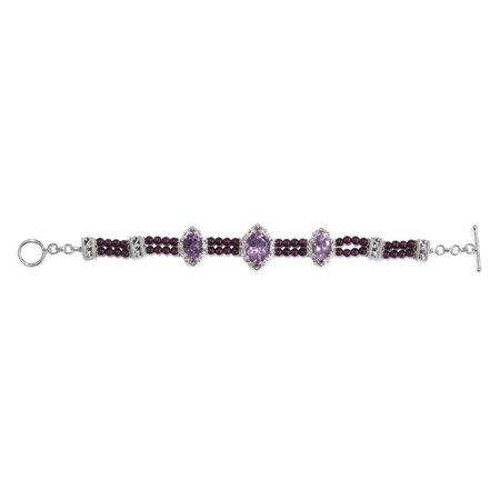 "925 Sterling Silver Platinum Plated Amethyst Rhodolite Garnet Bracelet for Women 7.25"" Cttw 27.5"