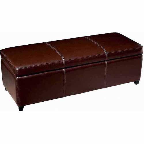 Baxton Studio Dark Brown Full Leather Storage Bench Ottoman