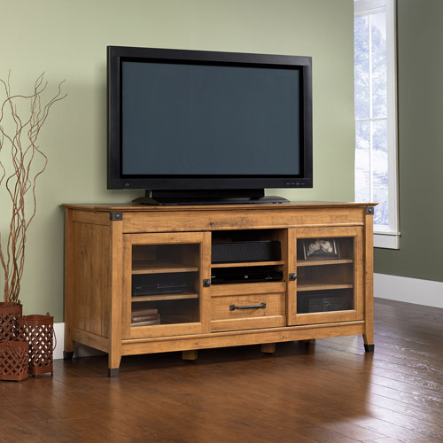 "Sauder Registry Row Entertainment Credenza for TVs up to 60"", Amber Pine"