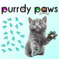 6 Month Supply - Purrdy Paws Turquoise Soft Nail Caps for Small Cats Claws - Extra Adhesives