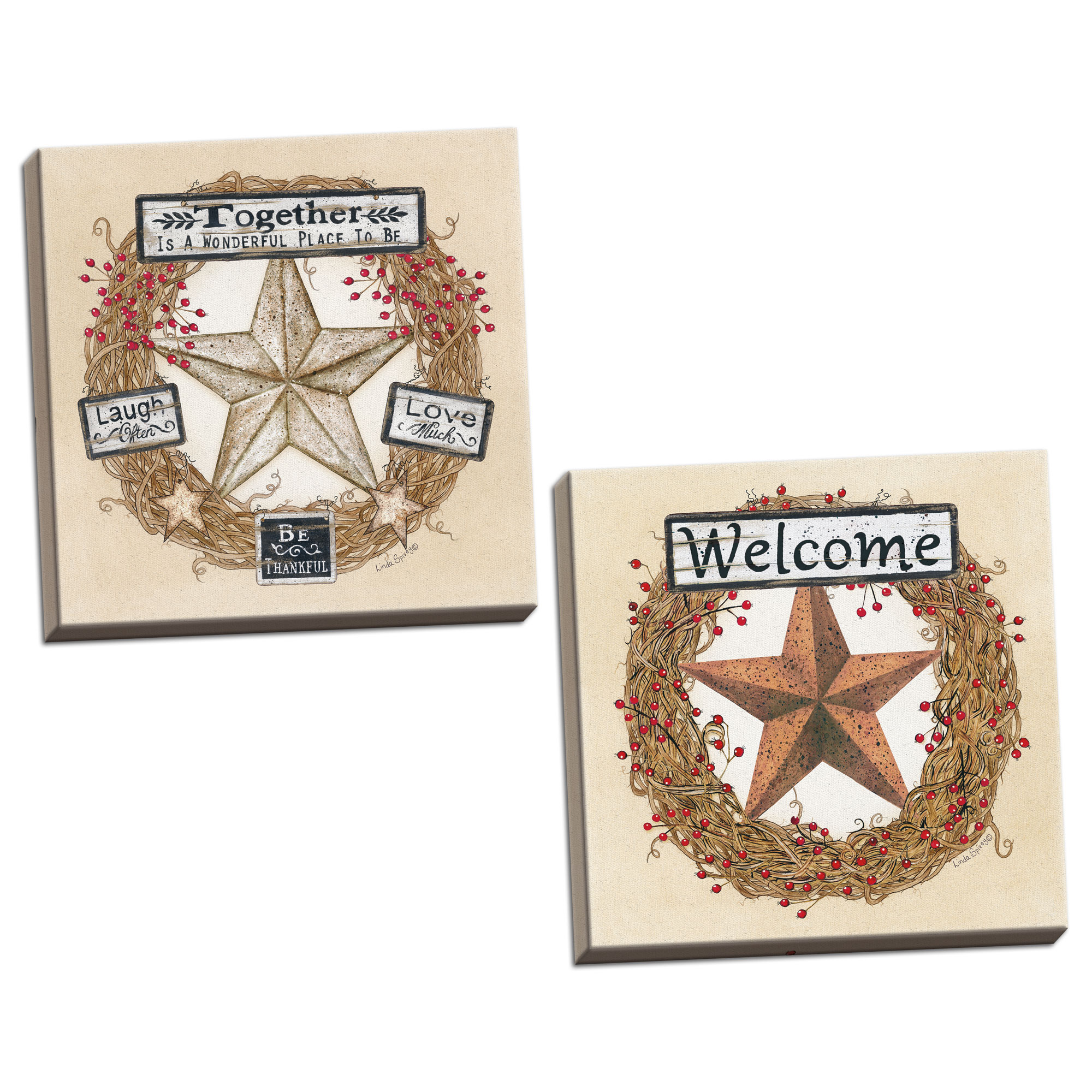 Gango Home Decor Country-Rustic Barn Star Wreath & Barn Star Welcome Wreath by Linda Spivey (Ready to Hang); Two 12x12in Hand-Stretched Canvases