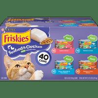 (40 Pack) Friskies Pate Wet Cat Food Variety Pack Seafood & Chicken Pate Favorites 5.5 oz. Cans