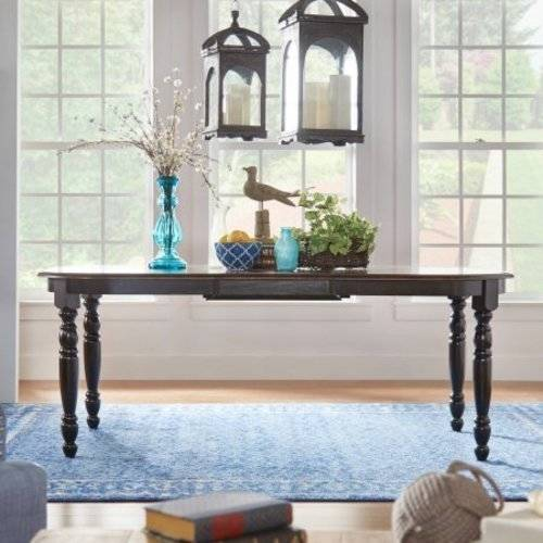 Weston Home Two Tone Dining Table, Antique Black U0026 Warm Cherry