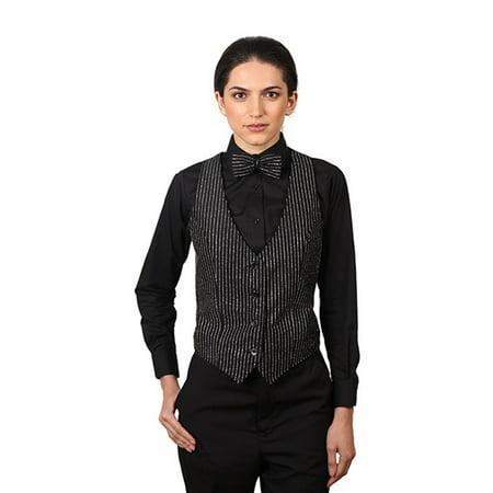 Women's Black & Silver Glitter Pinstripe Pattern Vest (Silver Sequin Vest)