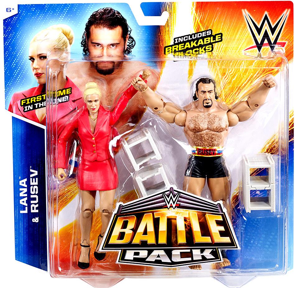 WWE Wrestling Series 34 Lana & Rusev Action Figure 2-Pack [Breakable Blocks] CJD37