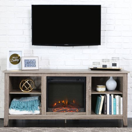 Walker Edison Driftwood Tv Stand With Fireplace Insert For Tvs Up To 60 Multiple Colors
