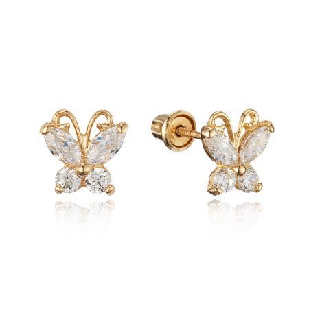 14k Yellow Gold White Butterfly Cubic Zirconia Children Screwback Baby Girls (Baby White Earrings)