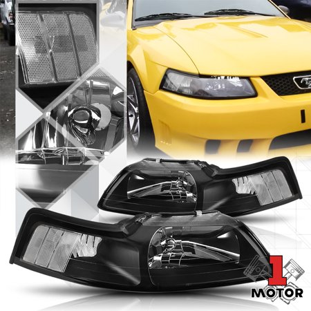 - Black Housing Headlight Clear Corner Signal Reflector for 99-04 Ford Mustang 00 01 02 03
