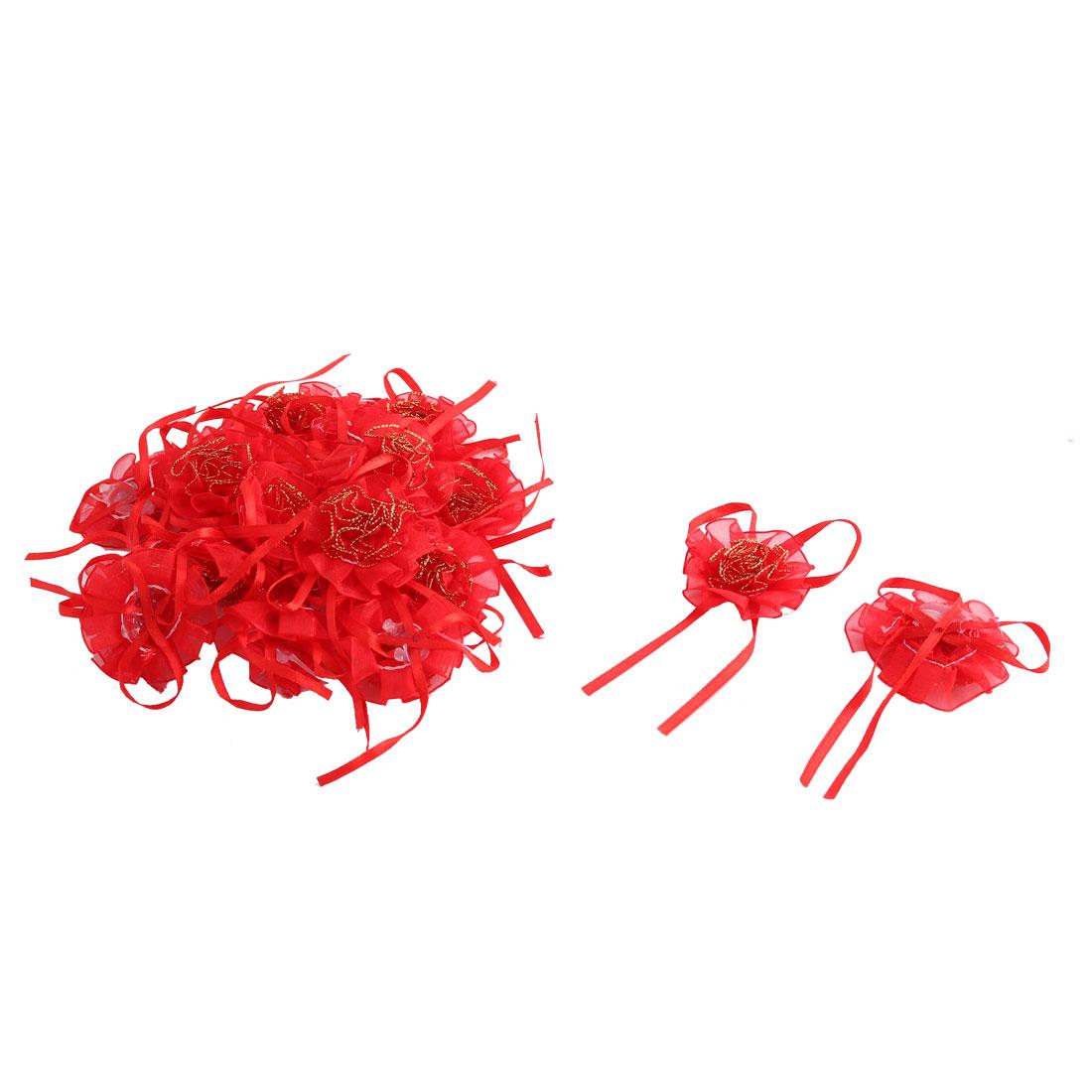 Home Wedding Party Decor Organza Emulational Handcraft DIY Flower Red 20 Pcs