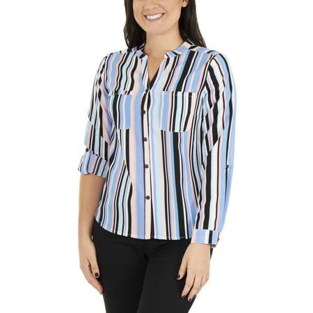 Petite Silk Mandarin Collar Shirt - Women's Petite 3/4 Sleeve Mandarin Collar Top