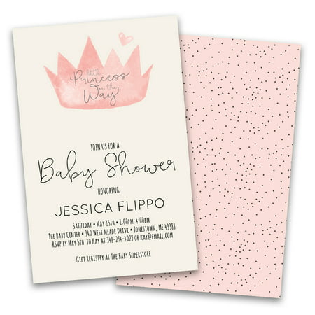 Personalized Pink Crown Baby Personalized Baby Shower Invitations](Sesame Street Baby Shower Invitations)