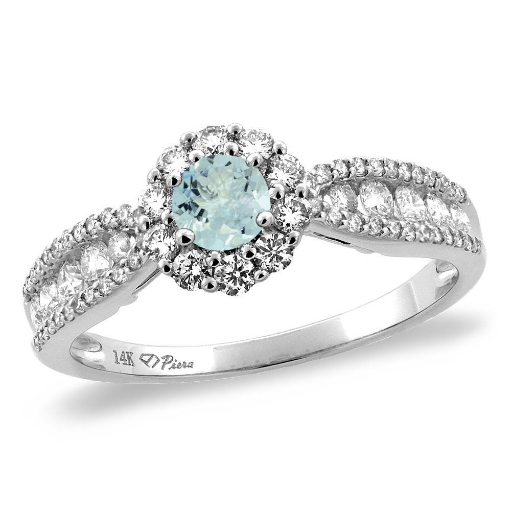 14K Yellow Gold Natural Aquamarine Halo Engagement Ring Round 4 mm, size 5 by Gabriella Gold