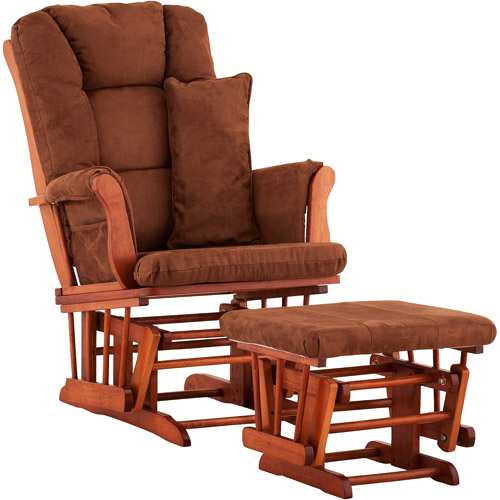 Storkcraft - Custom Tuscany Glider & Ottoman with Bonus Lower Lumbar Pillow - Cognac Finish, Choose Your Finish
