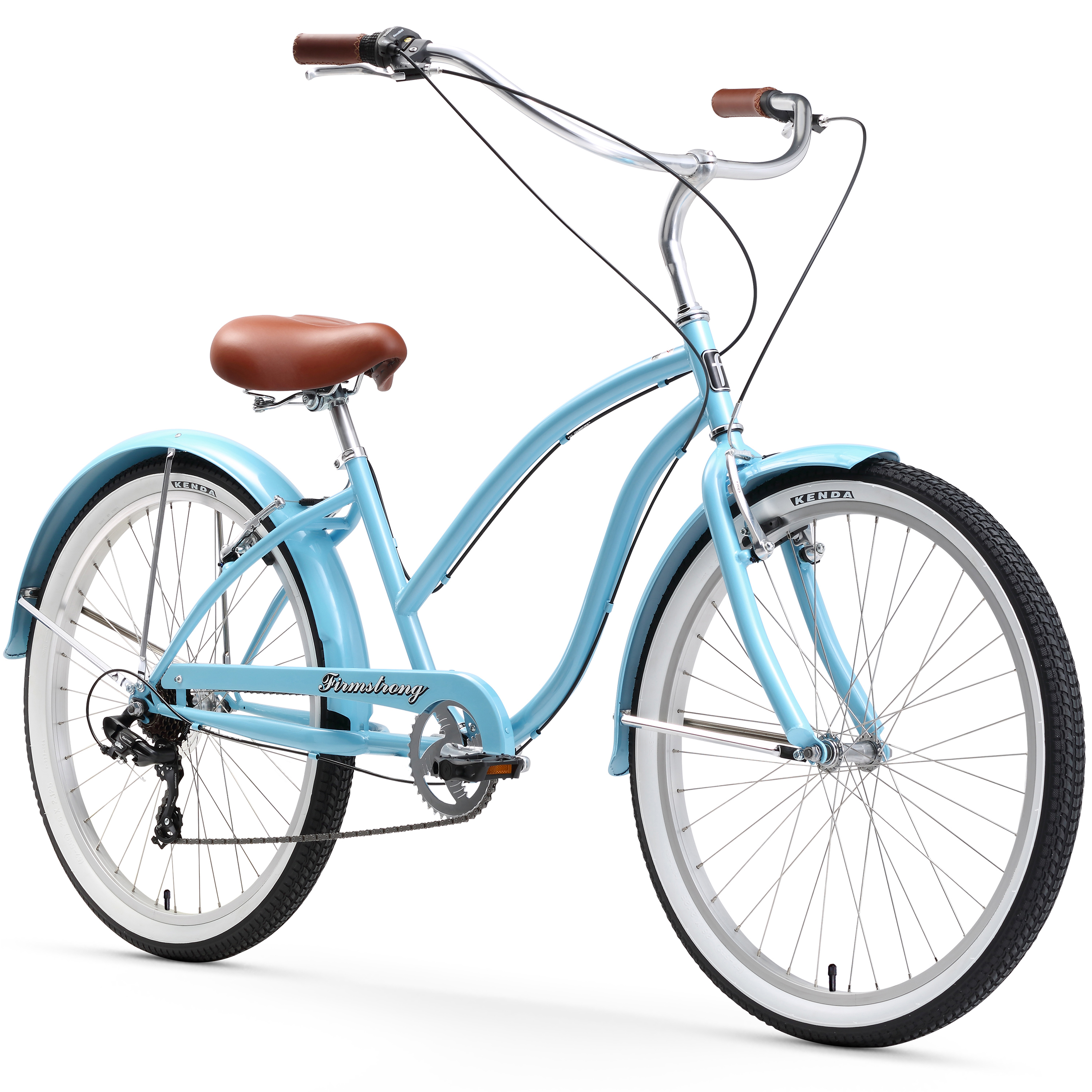 "26"" Firmstrong Chief Lady Seven Speed Beach Cruiser Women's Bicycle, Baby Blue"