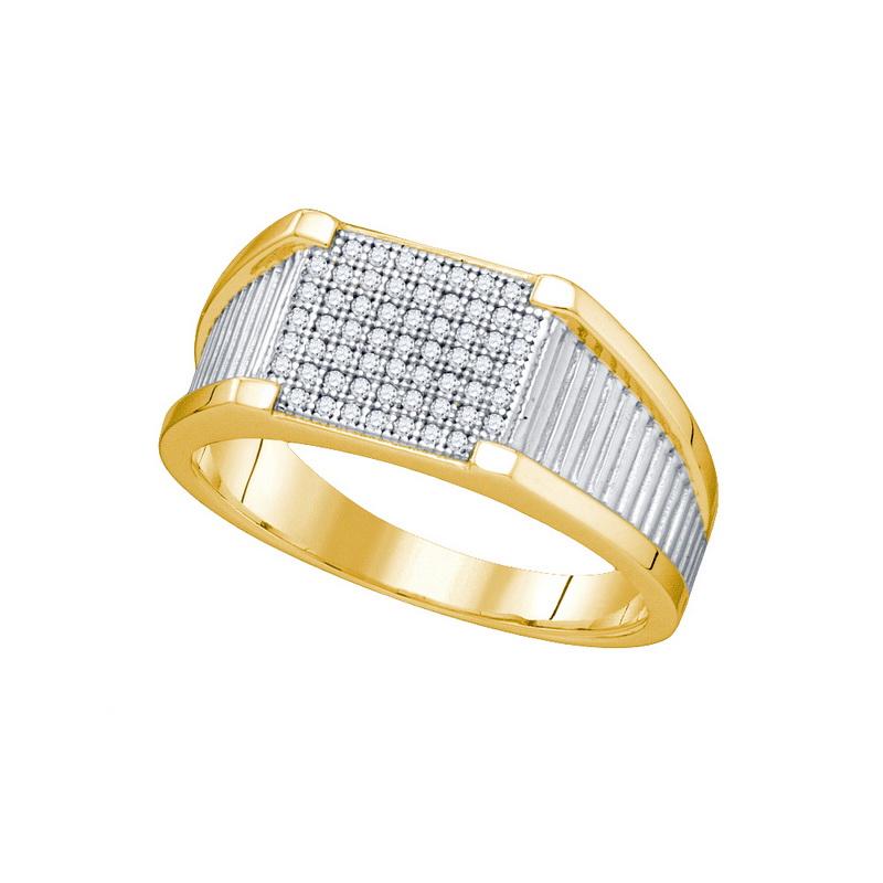10K Yellow Gold 0.20ctw Shiny Diamond Micro Pave Mens Wat...