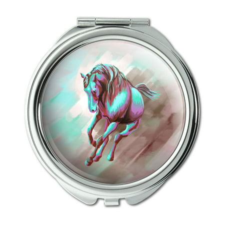 - Horse Running Painting Aqua Pink Compact Purse Mirror