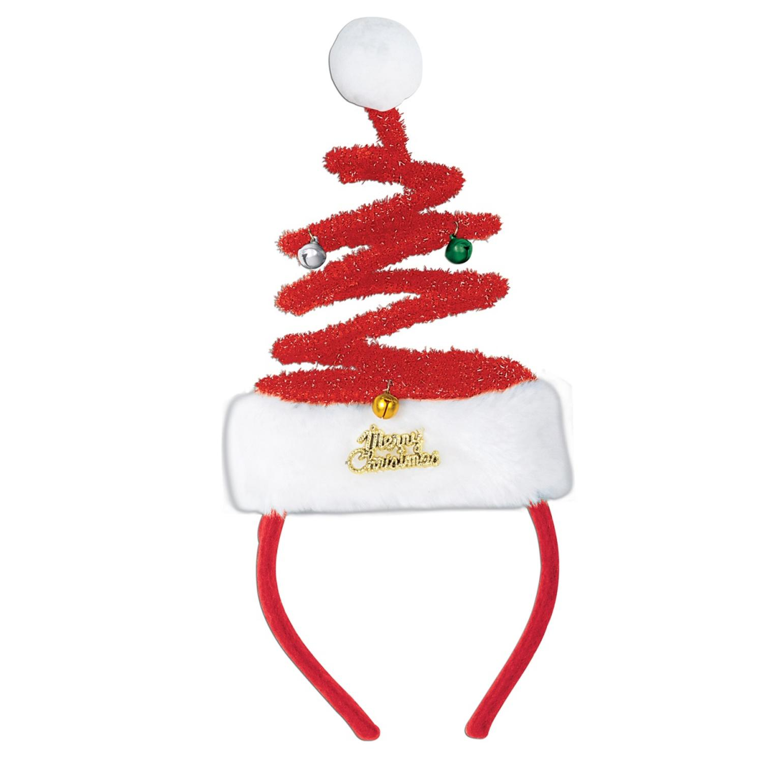 Pack of 12 Santa Claus Springy Tree Snap-on Christmas Headband Accessories