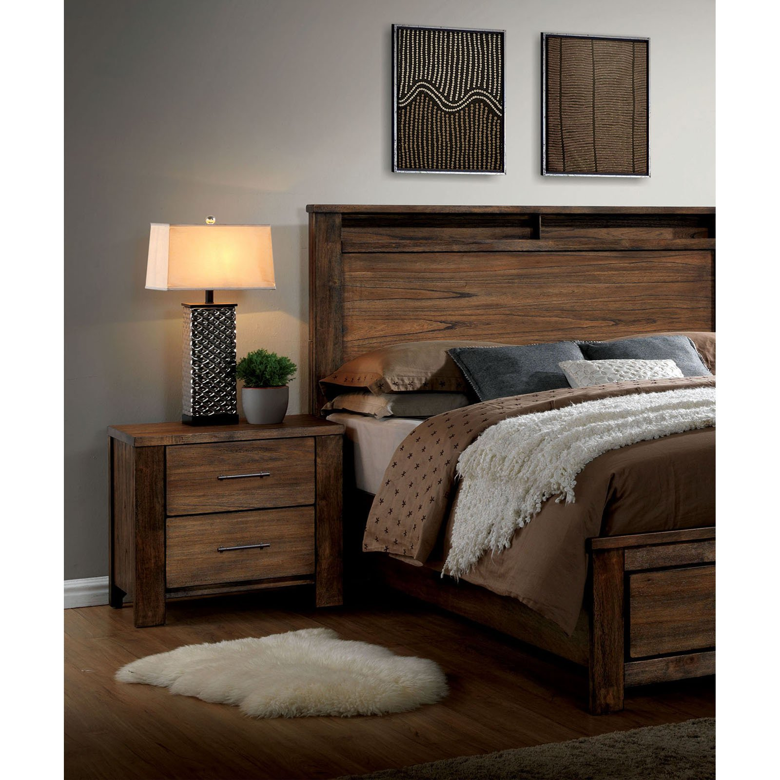 Furniture of America Orlando 2 Drawer Nightstand