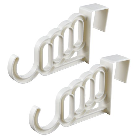Indoor Office Washroom Plastic Over Door Wardrobe Clothes Hook Hanger White 2Pcs For Home Essential