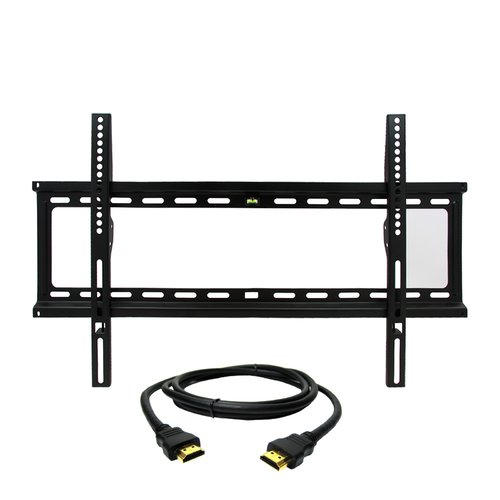 MegaMounts Fixed Wall Mount with Bubble Level for 32-70 in. Displays with HDMI Cable