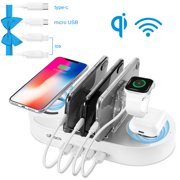 4-port USB Charging Station with 2 Wireless Charging Pad for Multiple Devices, 10W Fast Charging Dock Organizer for iPhone, ipad, Samsung, Android Phone, Tablet, AirPods