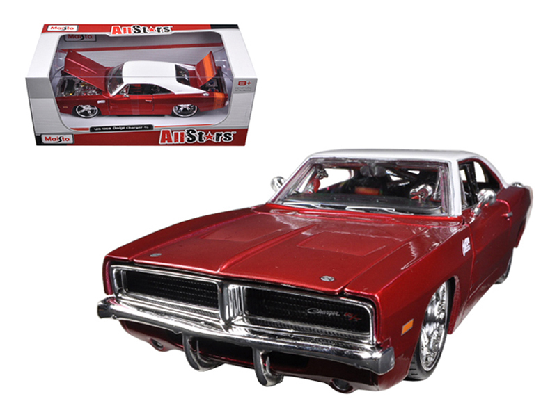 1969 Dodge Charger R-T Burgundy-White 1-25 Diecast Car Model by Maisto by Maisto International Inc