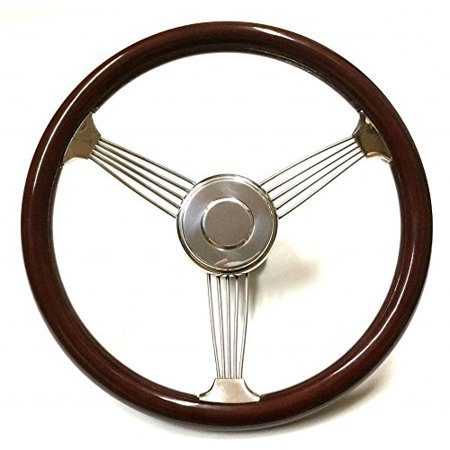 Real Wood Stainless Steel Banjo Steering Wheel W  Polished Horn Button