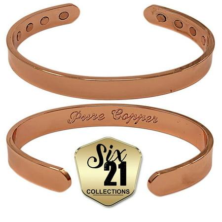 Polished Magnetic Copper Bracelet For Arthritis Relief Pure 8 Magnets Adjule Bangle