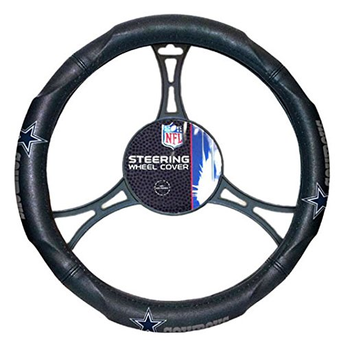 A Set of 2 Universal-Fit NFL Front Bucket Seat Covers and Comfort Grip Steering Wheel Cover - Dallas Cowboys