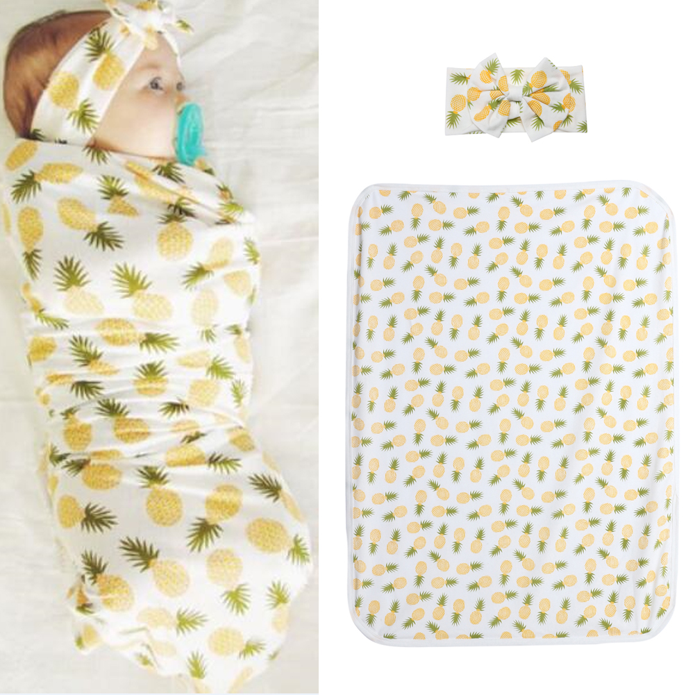 2pcs Baby Infant Swaddle Wrap Blanket Pineapple Print Sleeping Bag Headband
