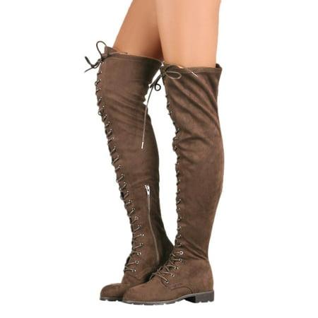 DYMADE Women's Chunky Heel Tied up Side Zip Suede Knee High (Zip High Heel)