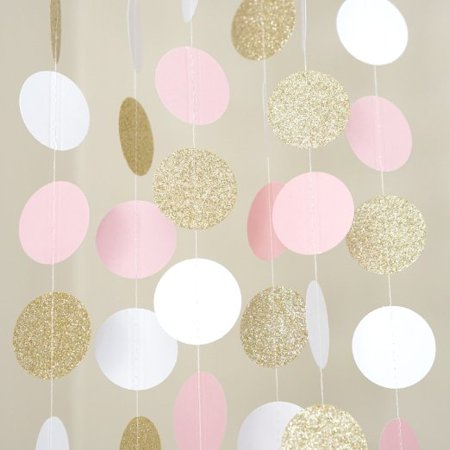 Pink White and Gold Glitter Circle Polka Dots Paper Garland Banner 10 FT Banner (Pink And White Polka Dot Paper)