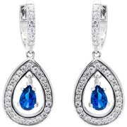 JCL Design Sterling Silver Created Sapphire and Ruby Drop Earrings September Blue Sapphire Blue
