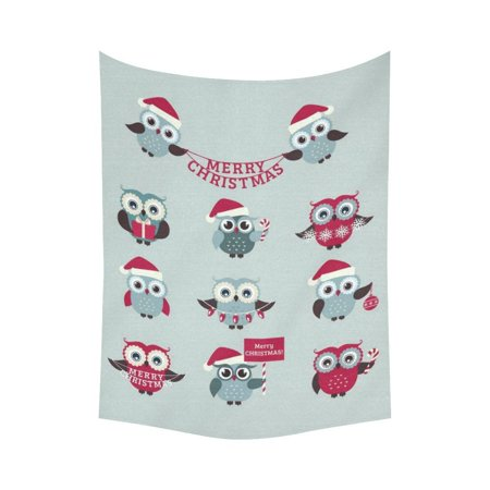 Gckg Cute Owls Merry Christmas Tapestry Vertical Wall Hanging Red Holiday Wall Decor Art For Living Room Bedroom Dorm Cotton Linen Decoration 60 X 80