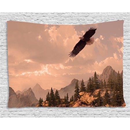 Eagle Tapestry, Nature Photography of Rocky Mountains and Forest with a Bald Eagle Flying over It, Wall Hanging for Bedroom Living Room Dorm Decor, 80W X 60L Inches, Rose Green, (Flying Bald Eagle)