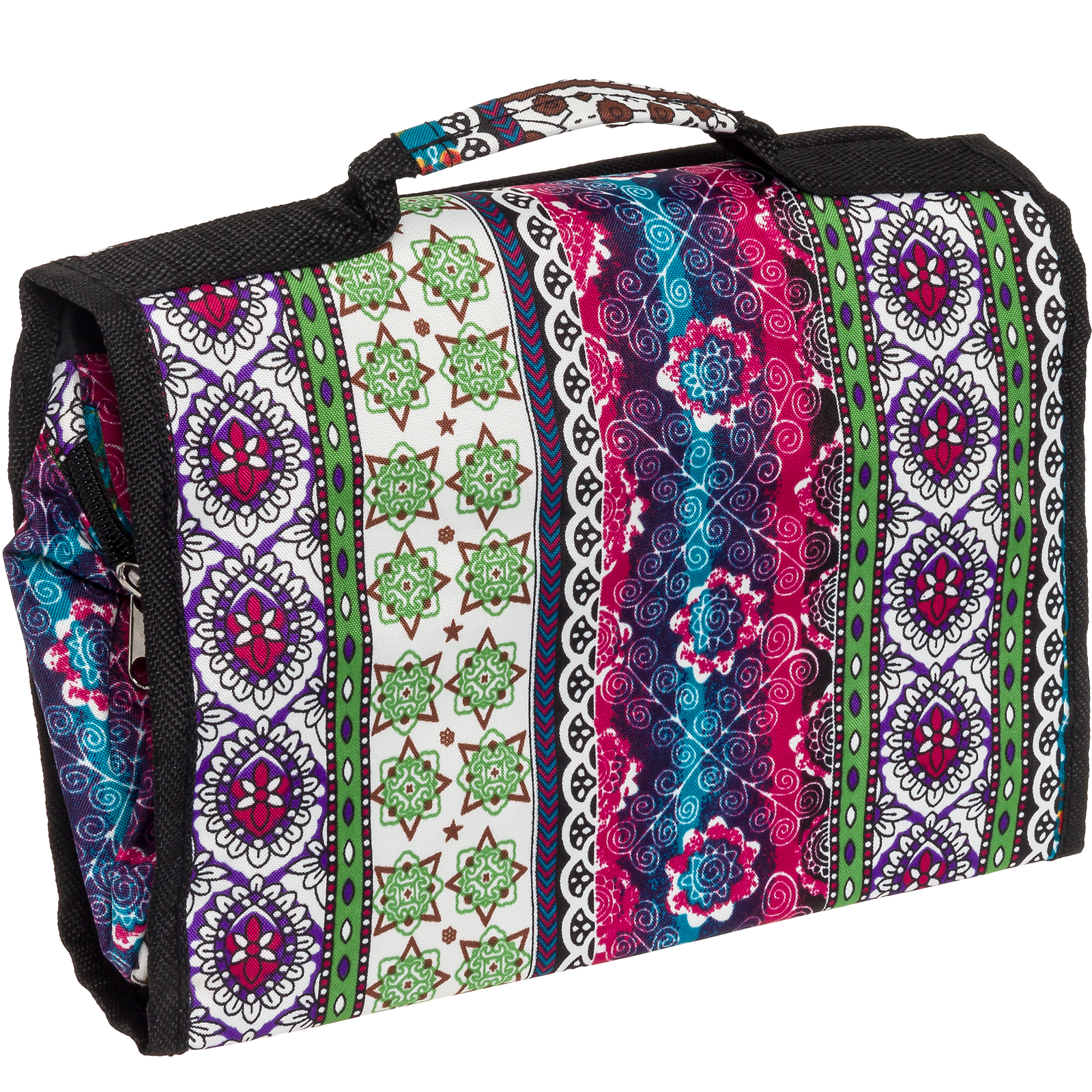 Silverhooks Boho Print Travel Cosmetic Case Accessory Organizer Bag w Black Trim