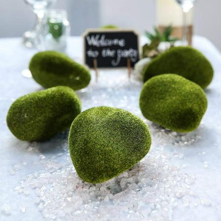 6 Pack | Artificial Moss Rocks | Moss Vase Fillers | Moss Stones Faux | - 4.5