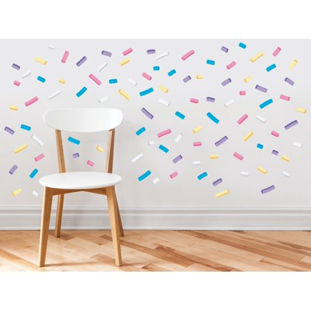 Sprinkles Fabric Wall Decals - Mini Bar Stickers, Confetti Decor, 110 Sprinkles in 5 Colors, Kids Room Decoration, Minipops Wall Decorations - Mini Wall Stickers